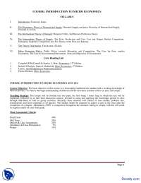 Course File-Introduction To Micro Economics-Handout