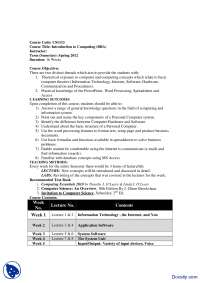 Course Outline-Introduction to Computing-Handout