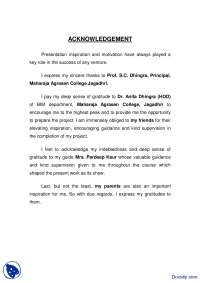 Acknowledgement Example 1-Writing Reports-Handout, Exercises for Effective Business Report Writing