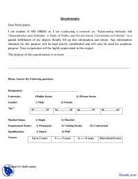 Thesis Questionnaire-Business Research And Report Writing-Handout
