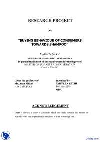Buying Behaviour of Consumers Towards Shampoo-Analysis of Businesses Banks Companies, Products and Consumers-Report