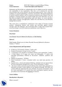 Course Outline-Business Research And Report Writing-Handout