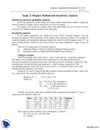Simplex Method and Sensitivity Analysis-Operation Research-Lecture Handout
