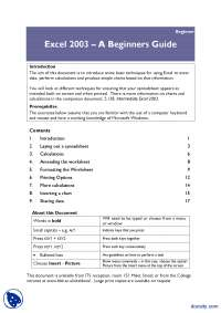 A Beginners Guide-MS Excel-Lecture Handout