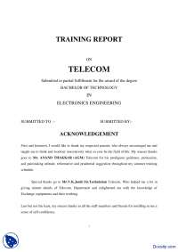 Telecom Engineering-Electrical Engineering-Training Report