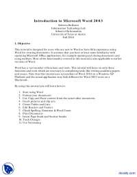 Introduction-MS Word-Lecture Handouts