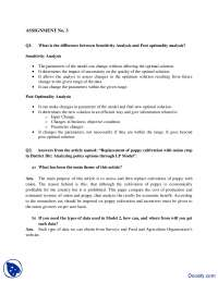Sensitivity Analysis and Post Optimality-Marketing Management-Assignment Solution