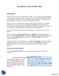 Introduction to Microsoft 2007 Office-MS Word-Lecture Handout