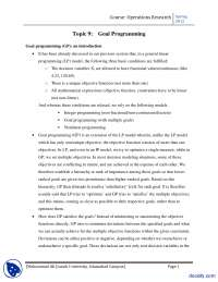 Goal Programming-Operation Research-Lecture Handout
