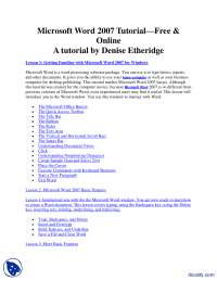 A tutorial by Denise Etheridge-MS Word-Lecture Handouts