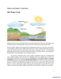 The Water Cycle-Water Treatment-Lecture Handout