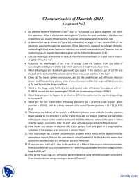 Electron Beams-Characteristics of Materials-Assignment