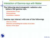 Interaction of Gamma-rays with Matter-Radiation Iteraction-Lecture Slides