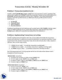 Transaction Activities-Introduction to Database-Lecture Notes