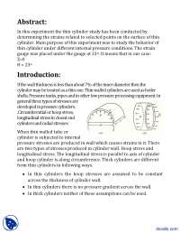 Thin Cylinder Study 1-Stress and Strain in Mechanical Engineering-Lab Report