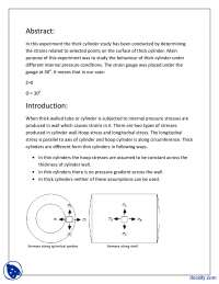 Thick Cylinder Study 3-Stress and Strain in Mechanical Engineering-Lab Report