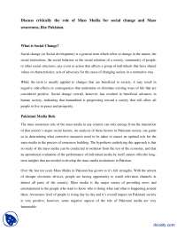 The Role of Mass Media For Social Change-Media and Mass Communication-Handout