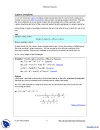 Laplace Transforms-Differential Equations and Transforms-Handout