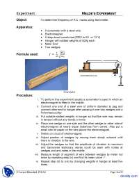 Sonometer Experiment-Physics-Lab Mannual