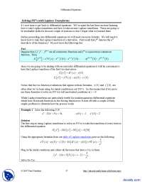 Solving Initial Value Problems With Laplace Transform-Differential Equations and Transforms-Handout