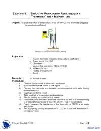 Thermistor Experiment-Physics-Lab Mannual