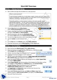 Exercises for Word 2007-Learning Microsoft Office-Handout