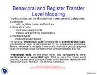 Behavioral and Register Transfer Level Modeling-Verilog and HDL-Lecture Slides