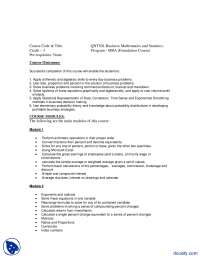 Business Statistics And Mathematics-Management And Business Administration-Course Outline
