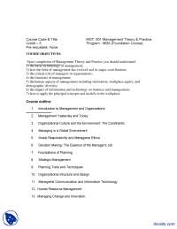 Management Theory And Practice-Management And Business Administration-Course Outline