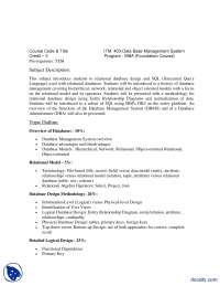 Database Management System-Business Administration-Course Outline