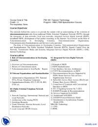 Telecom Technologies-Management And Business Administration-Course Outline