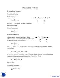 Mechanical Systems-Dynamic System Modeling and Analysis-Lecture Handout