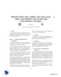 Carbon and Low Alloy Steel Electrodes and Fluxes for Electroslag Welding-Mechanical and Materials Engineering Specifications-Handout