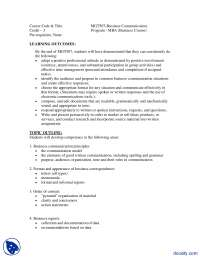 Business Communication-Management And Business Administration-Course Outline