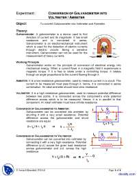 Conversion of Galvano Meter into Voltmeter-Physics-Lab Mannual
