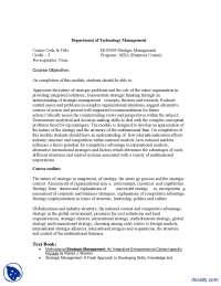 Stratigic Management-Management And Business Administration-Course Outline