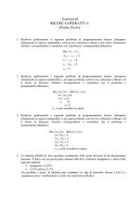 Esercitazione ed Esercizi - Ricerca Operativa - Programmazione Lineare