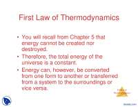 Laws of Chemical Thermodynamics-Chemical Thermodynamics-Lecture Slides