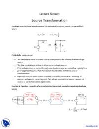 Source Transformation-Fundementals of Electronics-Lecture Slides