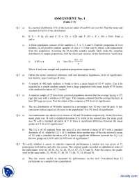 Statics-Mathematics And Statistics-Assignment