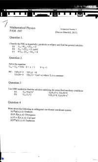 Partial Differential Equations-Mathematical Physics-Assignment