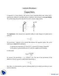 Capacitors-Fundementals of Electronics-Lecture Slides