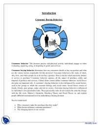 Business Research - Consumer Buying Behavior - Case Study