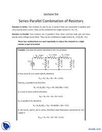 Series-Parallel Combination of Resistors-Fundementals of Electronics-Lecture Slides