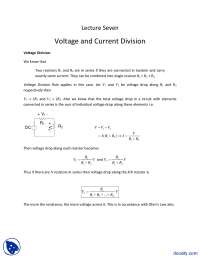 Voltage and Current Division-Fundementals of Electronics-Lecture Slides