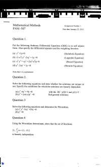 Ordinary Differential Equations-Mathematical Physics-Assignment