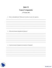 Cancer Cytogenetics-Genetics-Quiz