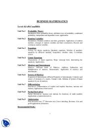 Course Overview-Business Mathematics-Handout