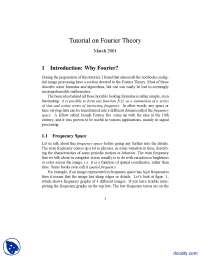 Introduction Why Fourier-Signal Processing And Analysis-Handout
