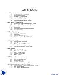 Course Outline-Cost Accounting-Assignment